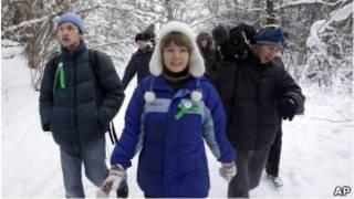 Евгения Чирикова с защитниками Химкинского леса