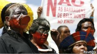 Протест бразильских индейцев