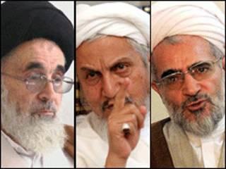 از راست: بیات زنجانی، یوسف صانعی، علی محمد دستغیب