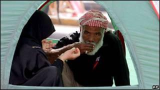 Участник демонстраций в Бахрейне