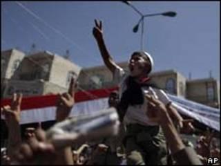 manifestantes em Sanaa/AP