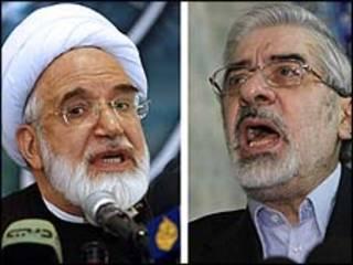 Karroubi (esquerda) e Mousavi (direita)/AFP