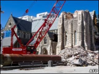 Escombros da catedral de Christchurch