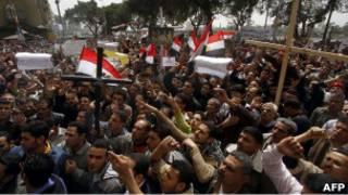 احتجاجات قبطية أمام مبنى التلفزيون في القاهرة
