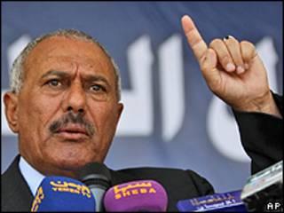 Ali Abdullah Saleh durante discurso em Sanaa (AP)