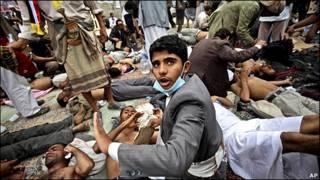 معترضان مجروح یمنی