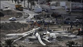 دوار اللؤلؤة في البحرين بعد تدميره