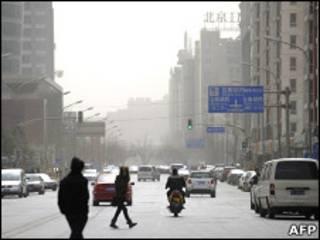 北京出現四級中度空氣污染(3月18日圖片)