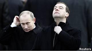 Президент РФ Медведев и премьер РФ Путин