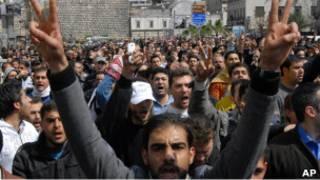 Протестующие в Дамаске