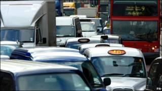 伦敦市中心交通拥堵状况