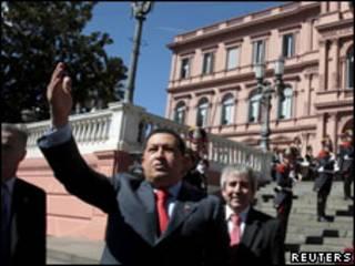Chávez ao chegar à Casa Rosada