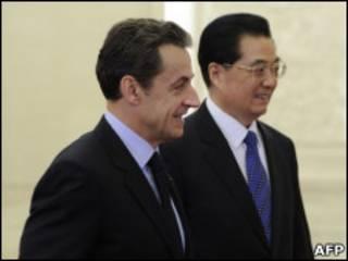 法國總統薩爾科齊和胡錦濤