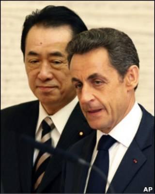 O presidente francês, Nicholas Sarkozy, e o premiê japonês, Naoto Kan