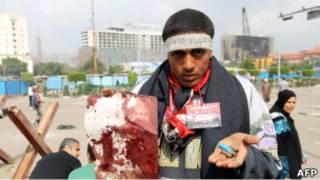 Участник протеста на площади Тахрир