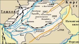 Тошкент вилояти харитаси(Wikipedia.ru сайтидан олинган сурат)