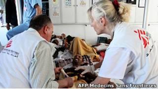 Раненный ливийский повстанец