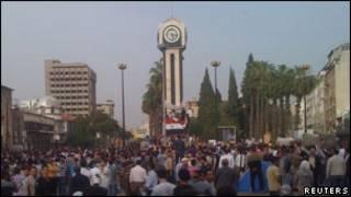 تظاهر کنند گان سوری در شهر حمص