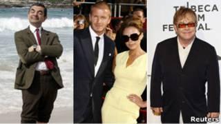 David y Victoria Beckham, Mr. Bean y Elton John