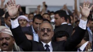 Президент Салех на митинге в Сане