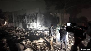 Зруйноване укриття лівійського лідера