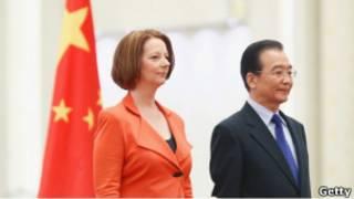 澳大利亞總理吉拉德和中國總理溫家寶(26/04/2011)