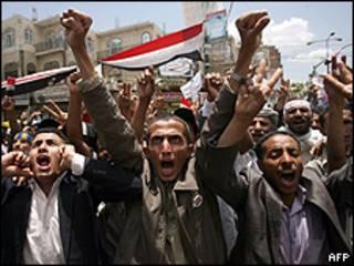 Protesto contra o governo em Sanaa, capital do Iêmen (AFP/Getty)