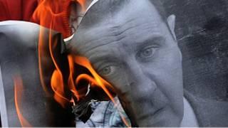 تصویر به آتش کشیده شده بشار اسد