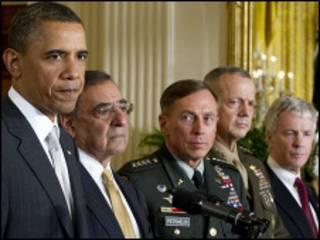 Obama lokacin da ya ke taro da jami'an tsaron Amurka