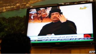 卡扎菲發表電視講話