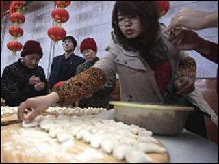 Quầy ăn có món dim sum ở Trung Quốc