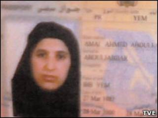 Foto do passaporte de Amal Ahmed Al-Sadah (TVE/Reprodução)