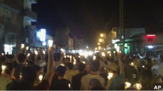Акция протеста в Сирии (фото очевидца с мобильного телефона)