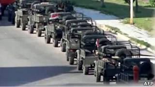ستون خودروهای نظامی در شهر حمص