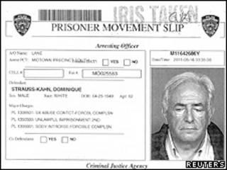 Ficha de Strauss-Kahn da prisão nos EUA (Reuters)