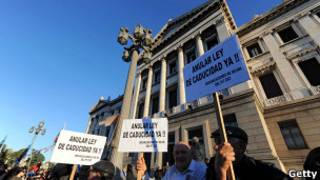 Manifestantes en Montevideo