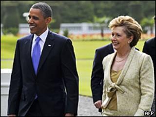 Barack Obama e a presidente da Irlanda, Mary McAleese (AFP/Getty)