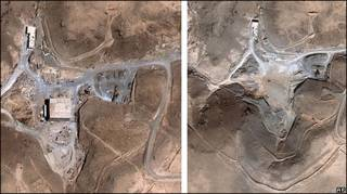 Fotos de satélite mostram local da Síria antes e depois do bombardeio israelense (AP Photo/DigitalGlobe)