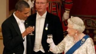 ملکه الیزابت و باراک اوباما در باکینگهام