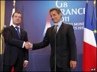 Shugabannin Faransa da Rasha, Medvedev da Sarkozy