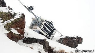 Взорванная канатная дорога в Приэльбрусье