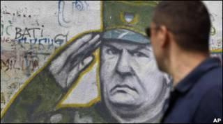 Графіті з Младічем у Белграді