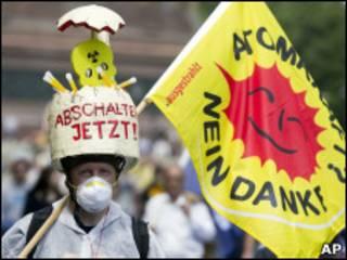 Protesto contra energia nuclear em Berlim, no dia 28 de maio