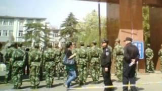 呼和浩特內蒙大學武警把門(博訊圖片)