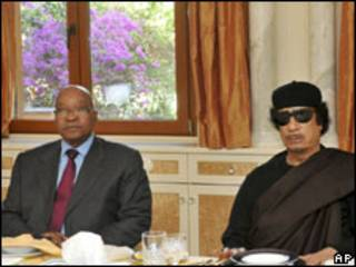 Shugaba Zuma da Shugaba Gaddafi