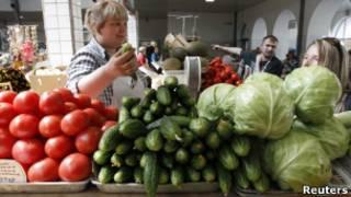 Овощи на рынке в Санкт-Петербурге