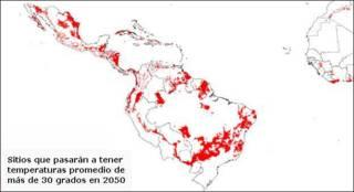 Mapa de zonas que pasarán a tener temperaturas de 30 grados centígrados en 2050  Mapa: gentileza CGIAR