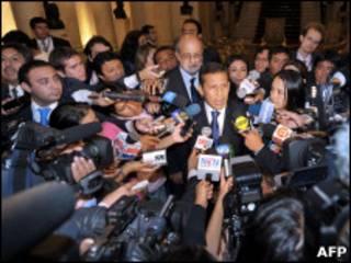 O presidente eleito do Peru, Ollanta Humala, durante uma entrevista coletiva