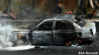 Сгоревший автомобиль на Садовом кольце