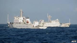中國海監船2011年5月26日在距離越南中部海岸線120海里處巡洋